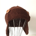 6 - 12 mths Baby , FREE POST Earflap Aviator Beanie Hat , Brown  Wool  Hand Knit