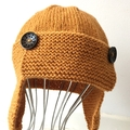12 - 24 mths Toddler , FREE POST Earflap Aviator Beanie Hat Gold Wool  Hand Knit