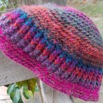 child's crocheted beanie, mohair blend yarn. Rich colours, winter warmth