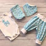 Newborn Baby boy outfit set llamas, size NB to 6 months, bodysuit clothes set