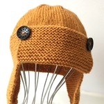 12 - 24 mths , Toddler , Earflap Aviator Beanie Hat , Gold , Wool , Hand Knit