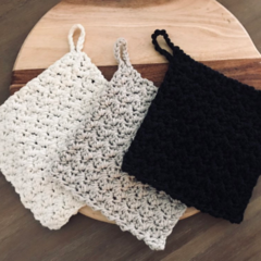 Crochet Eco Cotton Dishcloths | Potholders | Reusable Cloth | Farmhouse