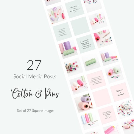 Social Media Package - Bundle of 27 Sewing Photos & Quotes