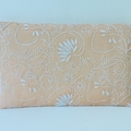 Boho luxe clutch purse.  Apricot voile with lots of handstitching in ivory.