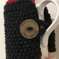 Handmade grey cozy or mug, tea cosy, Black coffee cozy, mug cozy, grey cozy