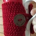 Handmade red cozy or mug, tea cosy, coffee cozy, mug cozy, red cozy