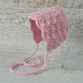 Vintage Dusty Pink Hand Crocheted  Baby Bonnet Beanie Hat Photo Prop 0-3 months