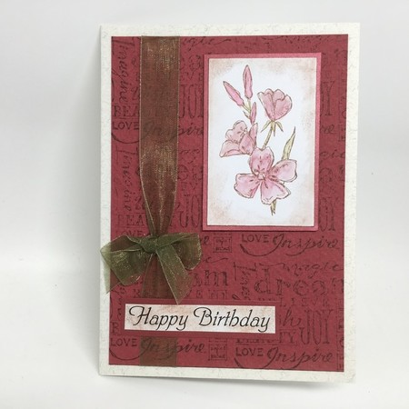 Birthday Card - Hand Coloured Flowers in vintage style