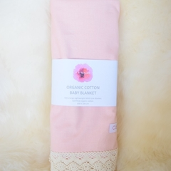 Organic cotton vintage lace baby blanket - pink