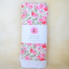 Cotton vintage lace baby blanket - red roses