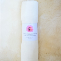 XL Double Muslin Baby Wrap - white