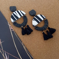 ANIMAL PRINT -ZEBRA STATEMENT DANGLES WITH TASSELS