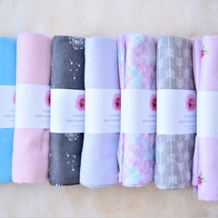 Flannelette baby blanket / wrap - neutral
