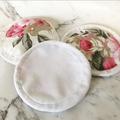 Set of 3 eco friendly reusable face wipes / makeup removers - soft floral
