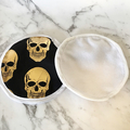 Set of 2 eco friendly reusable face wipes / makeup removers - gold skull