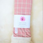 Cotton boho vintage baby blanket - pink check
