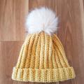 Crochet Wool Beanie with Faux Fur Pompom