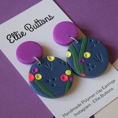 Night Garden drops- Polymer clay earrings