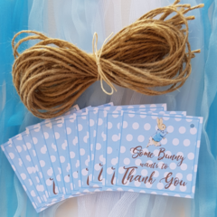Peter Rabbit Birthday Personalized Custom Handmade Blue Thank you Gift Tags