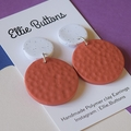 Bold orange textured- polymer clay earrings