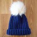 Crochet Wool Beanie with Faux Fur Beanie