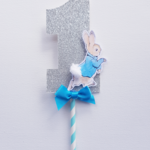 Peter Rabbit Cake Topper, Number 1 with Bow