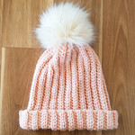 Crochet Wool Beanie with Faux Fur Pompom