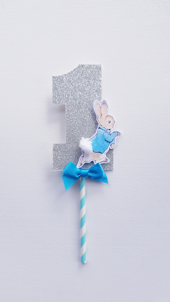 Peter Rabbit Cake Topper, Number 1 with Bow ...