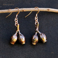 Real eucalyptus gum nut earrings - copper plated