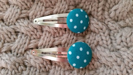 Fabric Button Hair Clips - Teal with white dots