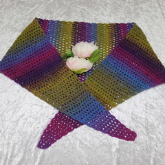 Purple Blue and Olive Blend Triangular Scarf