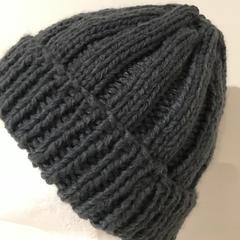 Grey mens beanie grey ladies winter hat knitted