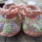 "crochet baby shoes ""dancing feet"" cotton and acrylic yarns 10-11cm foot."