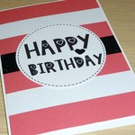 Female Birthday card - pink stripes