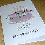 Female Birthday card - floral cake