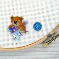SEW BEARABLE Sewing Bear #3 Resin Magnetic Needle Minder, Needle Nanny, Cross St