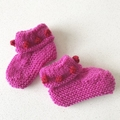 Spring flower Booties - Hand knitted in Pure Wool