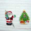 Interchangeable Santa and Christmas Tree Magnetic Needle Minder, Needle Nanny, C