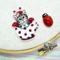 Lady Beetle Kitty Magnetic Needle Minder, Needle Nanny, Cross Stitch, Embroidery