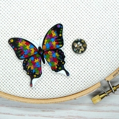 Autism Awareness Butterfly Magnetic Needle Minder, Needle Nanny, Cross Stitch, E