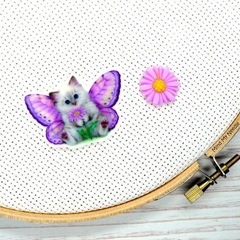 Butterfly Kitty Magnetic Needle Minder, Needle Nanny, Cross Stitch, Embroidery,
