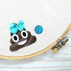 Poop Emoji with Blue Bow Magnetic Needle Minder, Needle Nanny, Cross Stitch, Emb