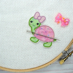 Turtle with Pink Bow Magnetic Needle Minder, Needle Nanny, Cross Stitch, Embroid