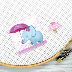 Elephant With Umbrella Magnetic Needle Minder, Needle Nanny, Cross Stitch, Embro