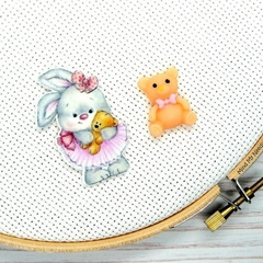 Ballerina Rabbit with Teddy Magnetic Needle Minder, Needle Nanny, Cross Stitch,