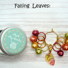 Falling Leaves Bead Hugging Stitch Markers with Leaf Charm Progress Keeper, Snag