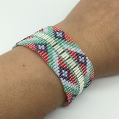 Beaded Bracelet Silver Pink Green Purple White