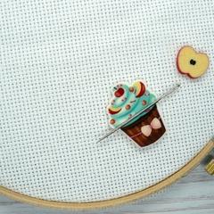 Apple Cupcake  Magnetic Needle Minder, Needle Nanny, Cross Stitch, Embroidery, Q