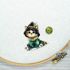 Scarecrow Kitty Magnetic Needle Minder, Needle Nanny, Cross Stitch, Embroidery,