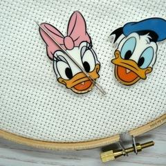 Interchangeable Daisy and Donald Magnetic Needle Minder, Needle Nanny, Cross Sti